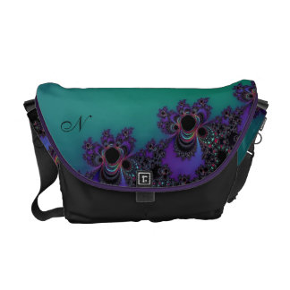 Monogram Teal Purple Fractal Personalized Bag Courier Bag