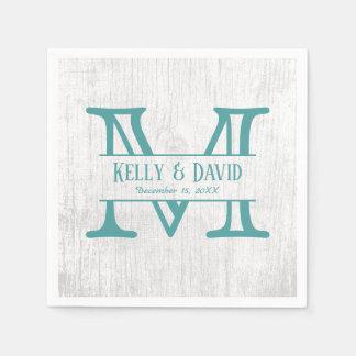 Monogram Teal Rustic Barn Wood Elegant Wedding Paper Napkin