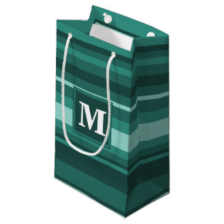 Monogram teal stripes small gift bag