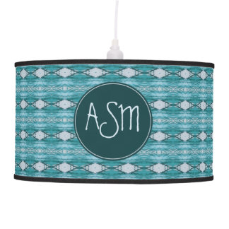 Monogram | Teal Watercolor Aztec Tribal Pattern Pendant Lamp