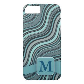 Monogram Teal Wavy Lines iPhone 7 Case