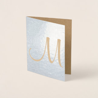 Monogram Template Initial Blank Note Foil Card
