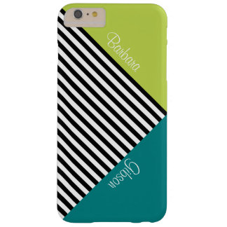 Monogram Tender Shoots Green Teal & Black Stripes Barely There iPhone 6 Plus Case