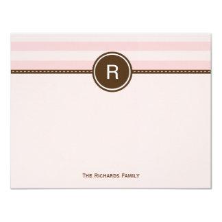 "Monogram Thank You Card - Pink Stripes 4.25"" X 5.5"" Invitation Card"