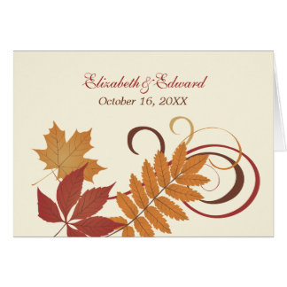 Monogram Thank You Note   Autumn Falling Leaves Note Card