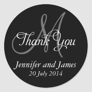 Monogram Thank You Wedding Favour Stickers