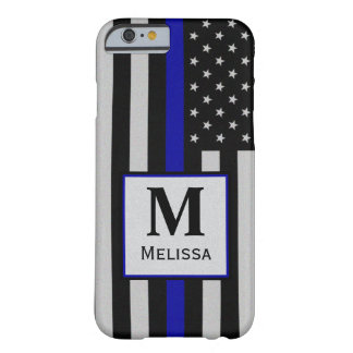 Monogram Thin Blue Line Flag Barely There iPhone 6 Case