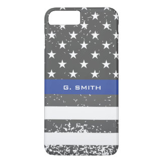 Monogram. Thin Blue Line. US American Flag. Case-Mate iPhone Case