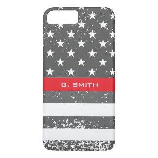 Monogram. Thin Red Line. US American Flag. iPhone 8 Plus/7 Plus Case