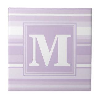 Monogram thistle purple stripes ceramic tile