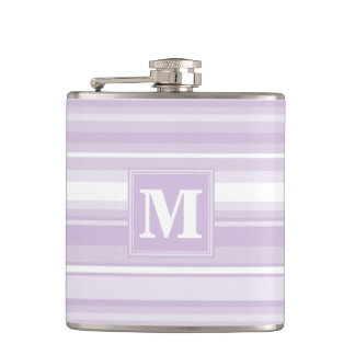 Monogram thistle purple stripes flask