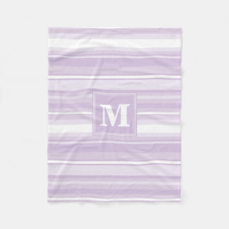 Monogram thistle purple stripes fleece blanket