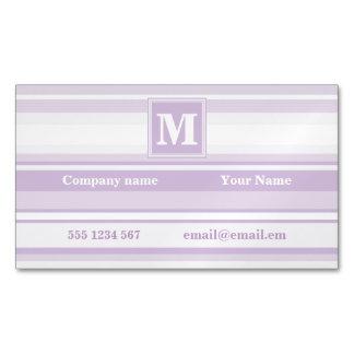Monogram thistle purple stripes magnetic business card