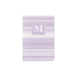Monogram thistle purple stripes passport holder
