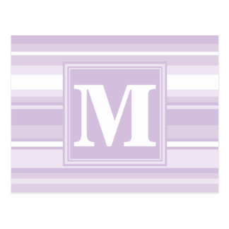 Monogram thistle purple stripes postcard