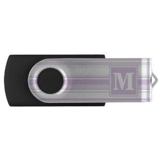 Monogram thistle purple stripes swivel USB 2.0 flash drive
