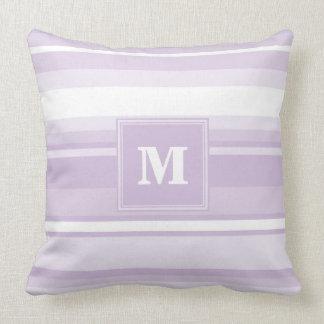 Monogram thistle purple stripes throw pillow
