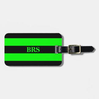 Monogram Three Black Stripe on Lime Green Bag Tag