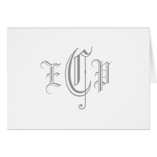 Monogram Three Letter Initials Card_Old English Card