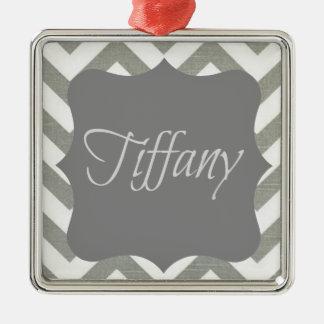 Monogram Tiffany Chevron Silver-Colored Square Ornament