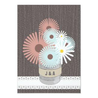 """Monogram Tin Can Peach & Blue Daisies 5"""" X 7"""" Invitation Card"""