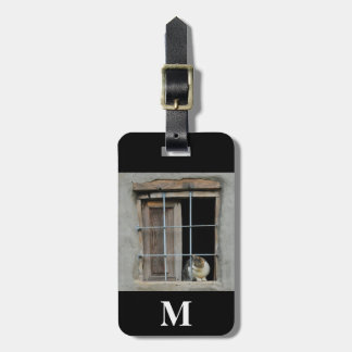 Monogram Travel Cat Looking Out Window Luggage Tag
