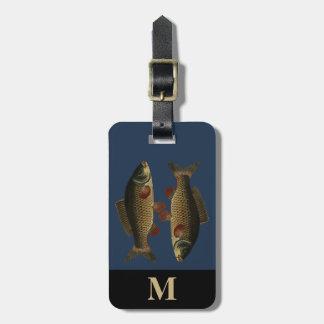 Monogram Travel Gray Green Carp Fish Luggage Tag