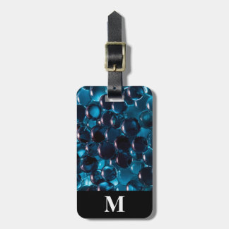 Monogram Travel Light and Dark Blue Glass Marbles Luggage Tag