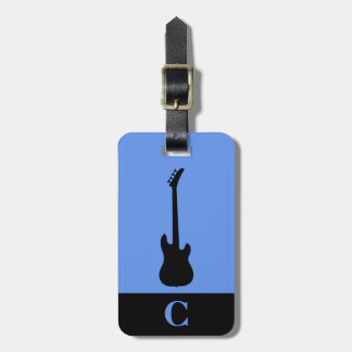 Monogram Travel Music Bass Guitar Cornflower Luggage Tag