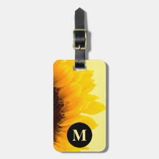 Monogram Travel Yellow Sunflower on Yellow Luggage Tag