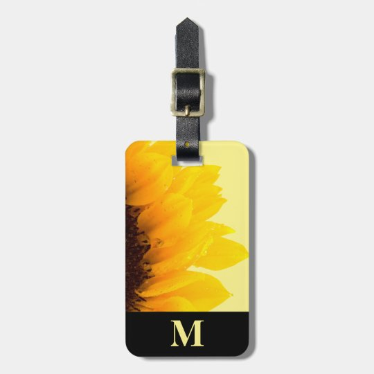 Monogram Travel Yellow Sunflower on Yellow Luggage Tag