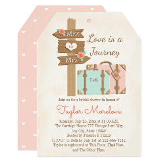 "Monogram Traveling from Miss to Mrs Bridal Shower 5"" X 7"" Invitation Card"