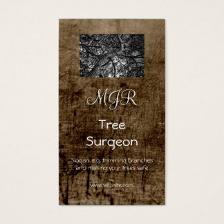 Monogram, Tree Surgery Business, leather-effect Business Card