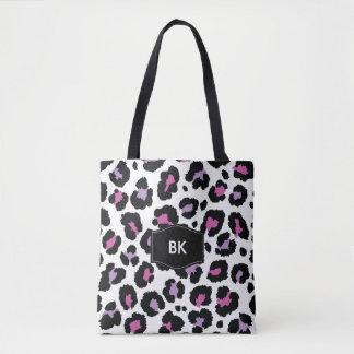 Monogram Trendy Animal Print Tote Bag