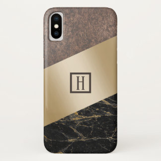 Monogram Trendy Copper Gold Black Marble Case-Mate iPhone Case