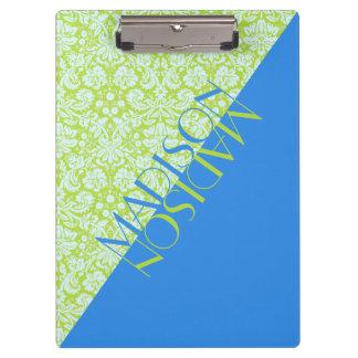 Monogram Trendy Resort Fashion Lime Green Blue Clipboard