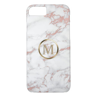 Monogram Trendy Rose Gold & White Marble Case-Mate iPhone Case