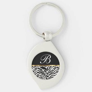 Monogram Trendy Zebra Keychains