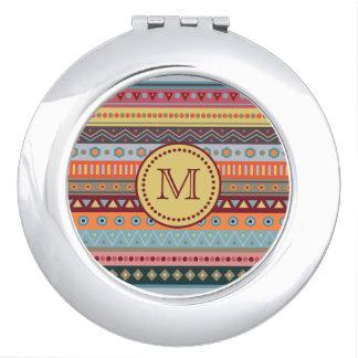 Monogram Tribal Autumn Colors Pattern Mirror