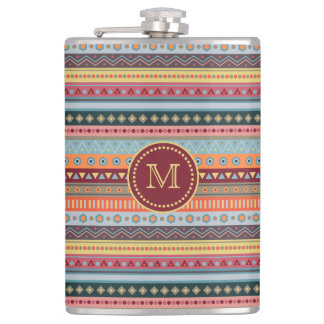 Monogram Tribal Colorful Geometric Pattern Flask
