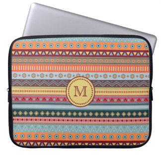 Monogram Tribal Colorful Neoprene Laptop Sleeve
