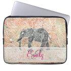 Monogram Tribal Paisley Elephant Colourful Henna Laptop Sleeve