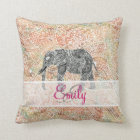 Monogram Tribal Paisley Elephant Colourful Henna Throw Pillow