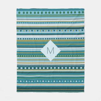 Monogram Tribal Teal Blue Pattern Fleece Blanket