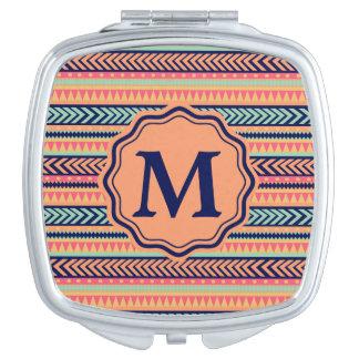 Monogram Tribal Texture Stripes Customizable Vanity Mirror