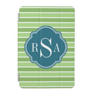 Monogram Trio Green Stripes Pattern iPad Mini Cover