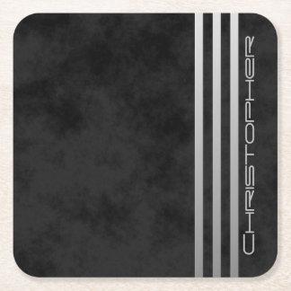* Monogram Triple Gradient Bars on Mottled Black Square Paper Coaster