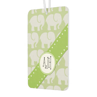 Monogram - Troop Of Elephants - Gray Green Car Air Freshener