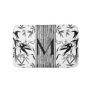 Monogram Tropical Bamboo Black and White Gift Bath Mat