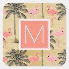 Monogram | Tropical Pink Flamingoes Square Sticker